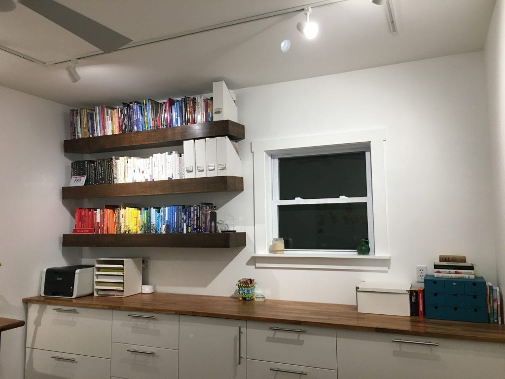 Finished office showing counter and bookshelves