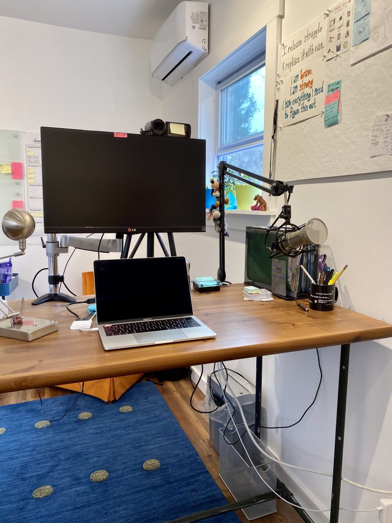 Amy's stand-up desk with external monitor